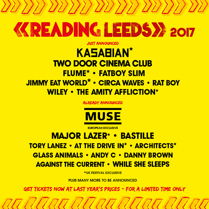 EEZ-EH EEZ-EH  Kasabian will be headlining Reading '17 plus more acts announced …