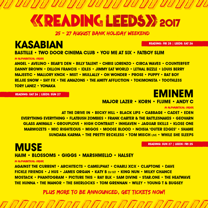Eminem will be headlining Reading '17 plus LOADS more acts announced ️🤗  Tickets…