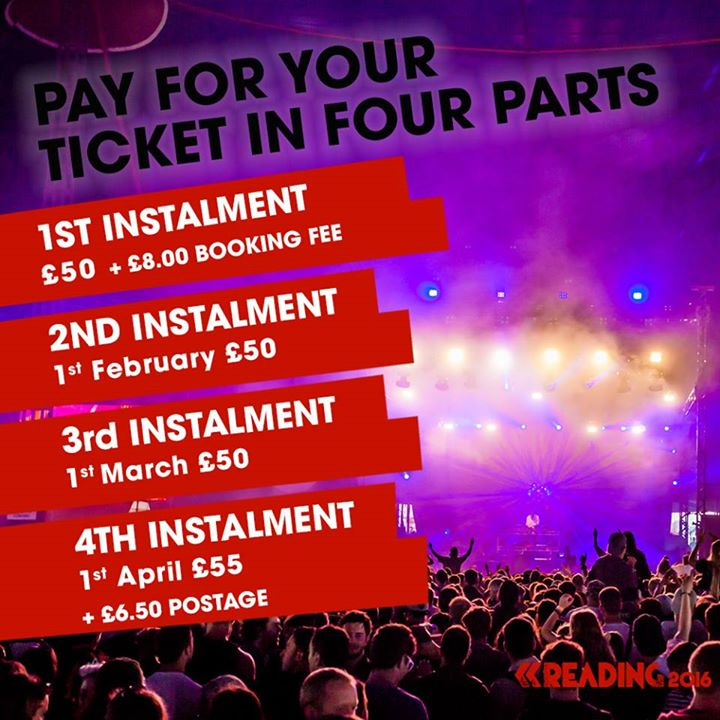 Secure your Reading 2016 ticket for £58 and pay off the rest next year …