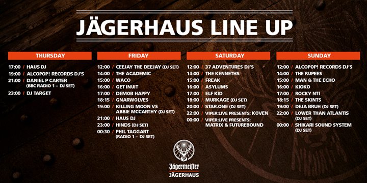 The Jägermeister�  #Jagerhaus is open from 5PM til Midnight today in the Campsit…