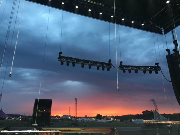 View from the Main Stage as the sun sets on Reading Festival ️