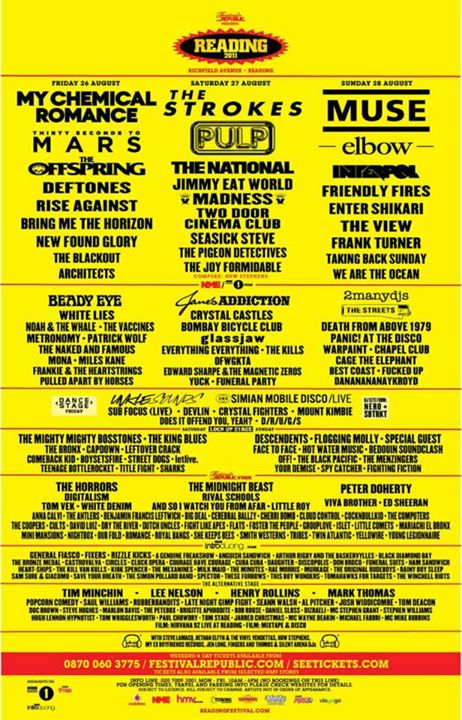 Which years did you come to Reading Festival?
