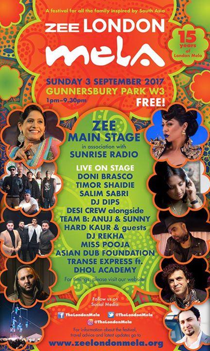 39d59010e6 London Mela news: Full ZEE London Mela 'ZEE Main Stage in association with  Sunrise Radio' line up …