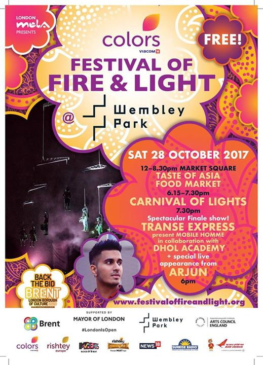 London Mela news: It is exactly 1 week away for the Colors Festival of Fire & Light @ Wembley Park…