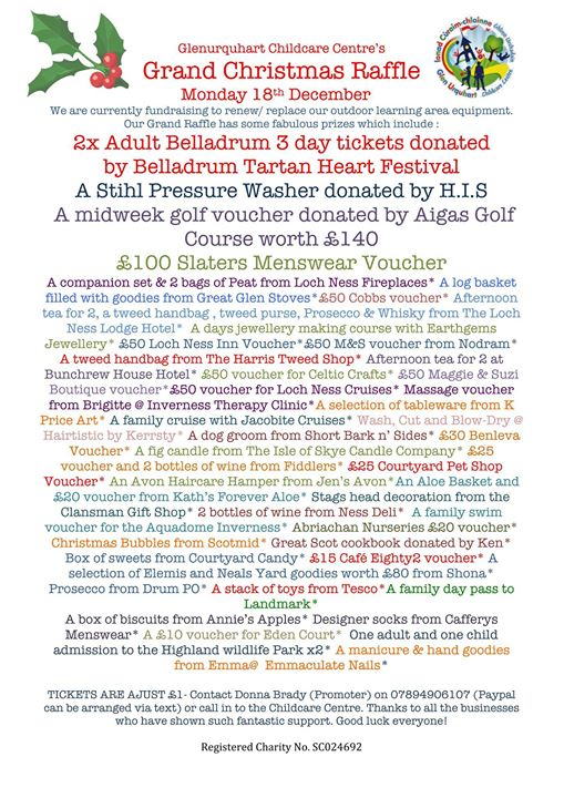 Belladrum Tartan Heart Festival  news: Check out the amazing prizes up for grabs at Glen Urquhart Childcare Centre Gran…