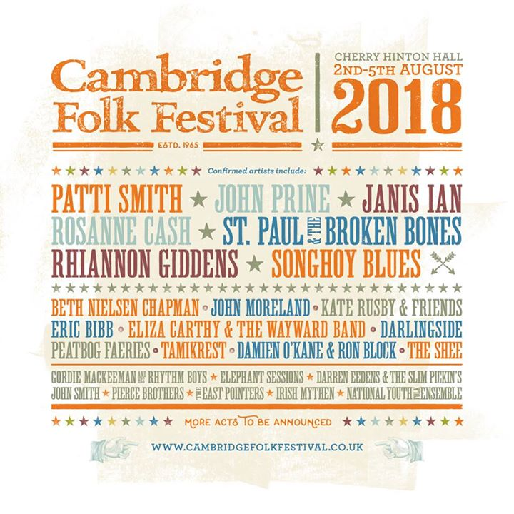 Cambridge Folk Festival news: We're thrilled to share with you the first names for the 2018 Festival…  #Camb…