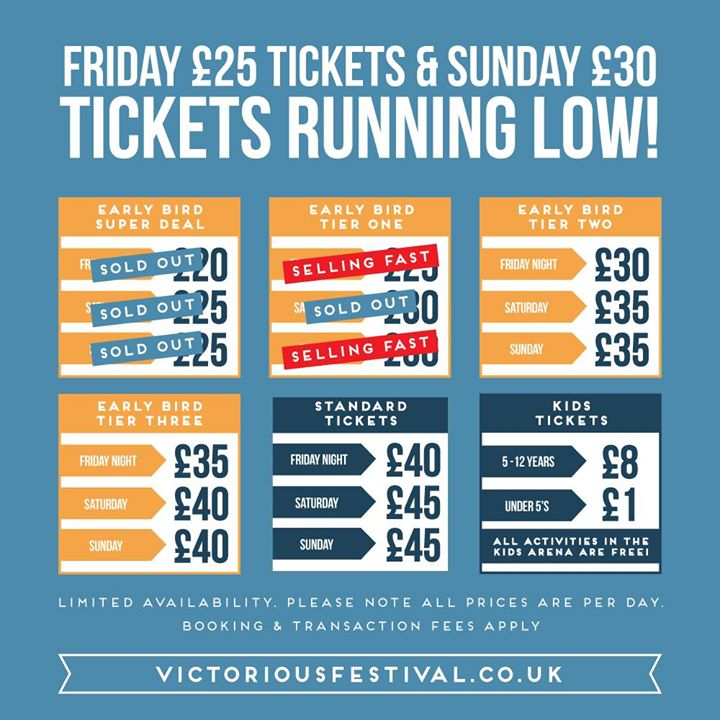 Victorious Festival news: Friday £25 & Sunday £30 tickets running low!!…