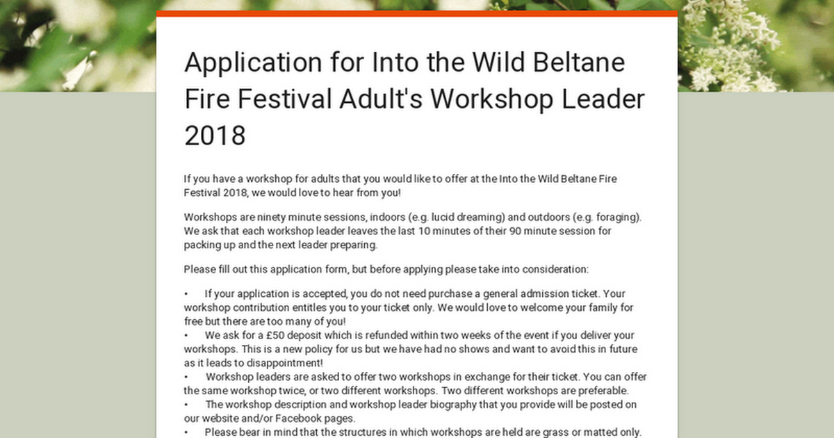 Into the Wild Festival news: Application for Into the Wild Beltane