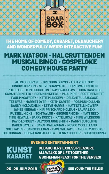Join us in our Soapbox tent for a weekend of humour, cabaret and weirdly wonderf...