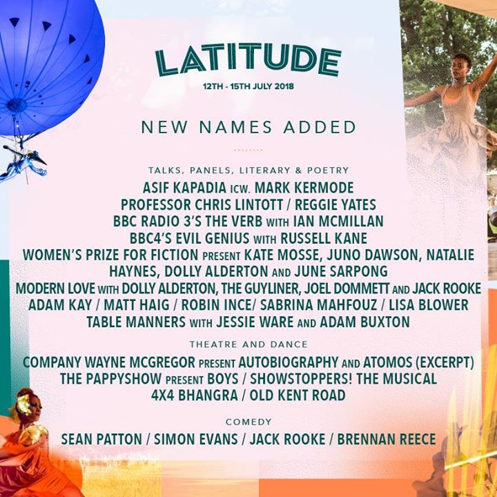 More comedy, dance and spoken word names have been added to your Latitude 2018 l...