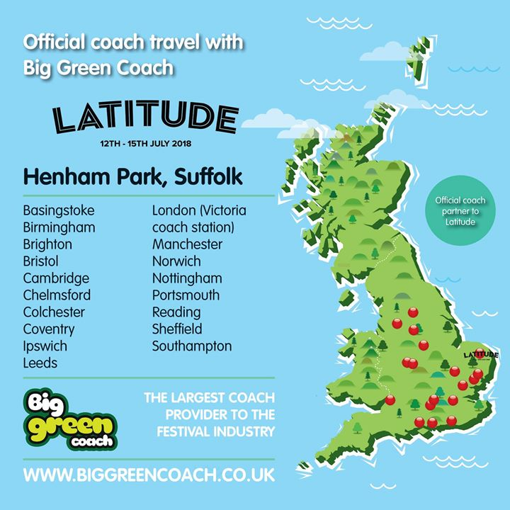 Return coach travel to Latitude 2018 from 20 locations with @biggreencoach!!! 🦋 ...
