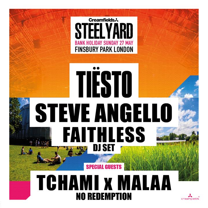 1 WEEK TO GO until Creamfields Steel Yard London with Tiësto Steve Angello Faith...