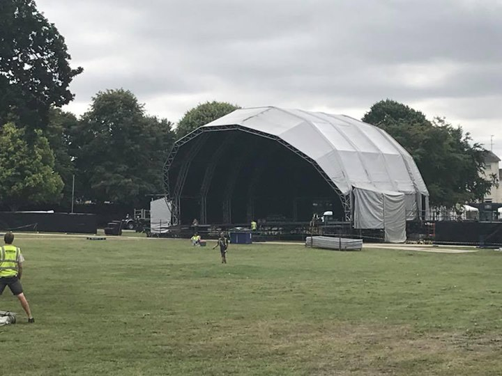The stage is up - full FAQ on www.glastonburyabbey.com; Park and Ride buses star...