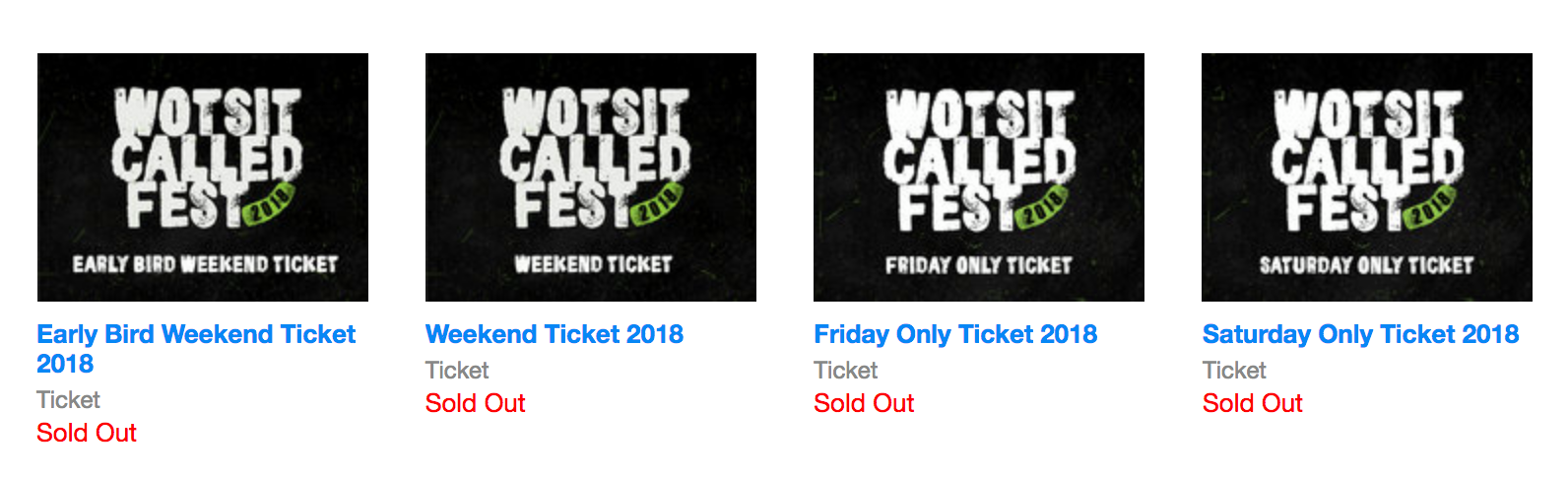 Wotsit Called Fest news: Wotsit Called Fest 2018 has completely sold out!