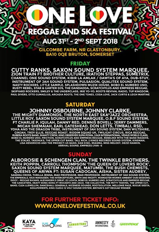One Love Festival news: Day by Day Artist schedule – www.onelovefestival.co.uk –