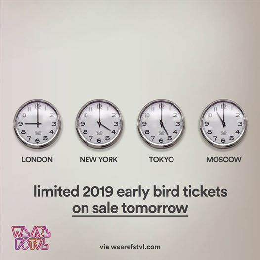 We are FSTVL news: Set your watches the countdown is on!! Early birds on sale 9am tomorrow Sep 27th…