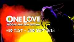 "Image may contain: one or more people, text that says ""ONE LOVE REGGAE AND SKA FESTIVAL AUG 31ST - 2ND SEPT 2018"""