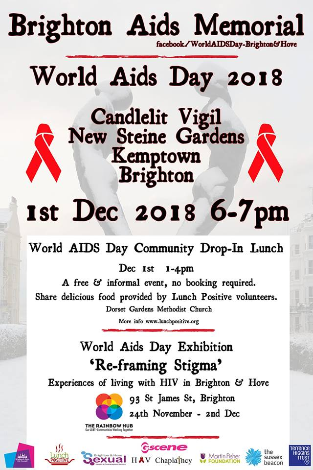 Brighton Pride news: This Saturday 1st December marks World AIDS Day 2018  To commemorate there will …