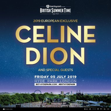 Barclaycard British Summertime news: Tickets for Céline Dion on sale from 9AM TOMORROW. Don't miss it.