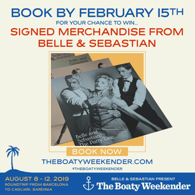 Boaty Weekender news:  Don't miss your chance to snag some exclusive merch from Belle and Sebastian!