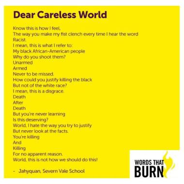Cheltenham Festivals news :  We mark #WorldPoetryDay with this piece from Severn Vale School student Jahyqua…
