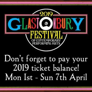 Glastonbury Abbey Musical Extravaganza news : If you've paid a deposit for a Glastonbury 2019 ticket, remember that the balanc…