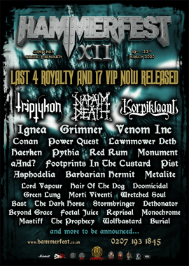 Hammerfest news : Final 4 Royalty & 17 VIP Now Up For Grabs As 37 Metal Marauders Are Unleashed By Fan Demand For HAMMERFEST XII
