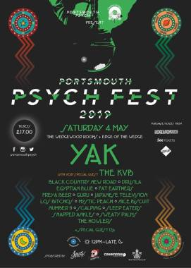 PORTSMOUTH PSYCH FEST RETURNS FOR 3RD YEAR –  ANNOUNCING YAK, THE KVB, SNAPPED ANKLES, BLACK COUNTRY, NEW ROAD & MANY MORE