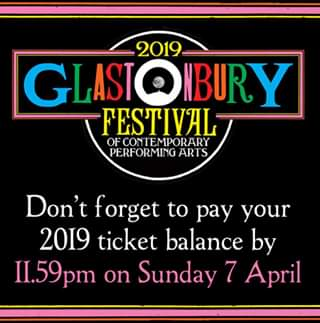 Glastonbury Abbey Musical Extravaganza news : DON'T FORGET! If you paid a deposit for a #Glastonbury2019 ticket in October, yo…