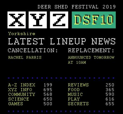 Deer Shed news : The teletext screen of sad news is back.  We're gutted to announce that Rachel P…