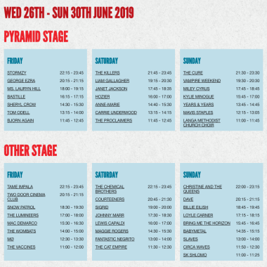 Glastonbury Festival news: The full #Glastonbury2019 line-up, with set times, is here! Head to  to see deta…
