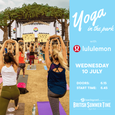 Barclaycard British Summertime news: Booking is now open for the Lululemon Yoga in the Park at this year's Open House…