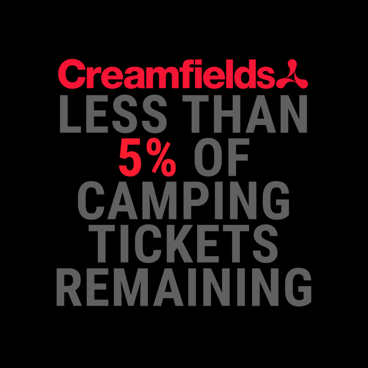 Less than 5% of ALL camping tickets remaining...