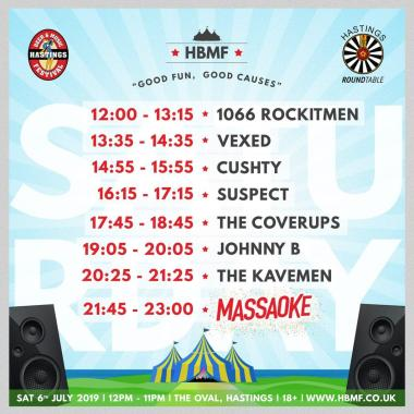 Hastings Beer and Music festival news : Here is your Saturday line-up and times! 11 hours of awesome music, and a fantas…
