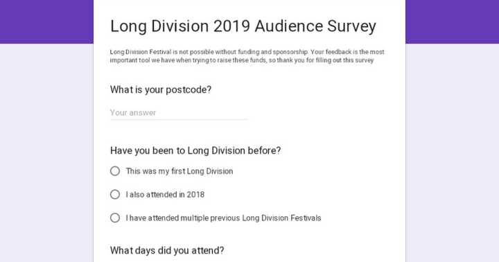Long Division festival news : So… would you like to see a Long Division Festival in 2020?…