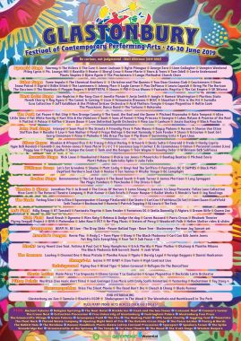 Glastonbury Abbey Musical Extravaganza news : The official #Glastonbury2019 line-up poster (by Alister Sieghart) is now availa…