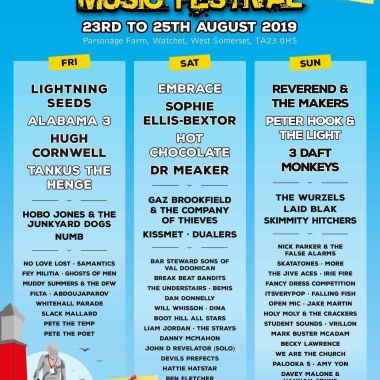 Watchet Festival news: Line up by day, tickets availability is getting low, we will sell out