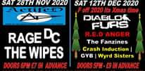 """Image may contain: text that says """"AUDIO UND ERCOVER FESTIVAL & EVENTS SUBURBS THE HOLROYD GUILDFORD GOES UNDERCOVER UNDERCOVER FESTIVAL & OTHER EVENTS FOR THE VERY BEST ALTERNATIVE MUSIC INC PUNK, POST PUNK, SKA MUCH MORE SAT 28TH NOV 2020 SAT 12TH DEC 2020 ActifeD F off 2020 its Xmas time PACES RAGE DC R.E.D ANGER The Fanzines THE WIPES Crash Induction I GYB Wyrd Sisters DOORS 6PM £7 IN ADVANCE DOORS 5PM- £9 IN ADVANCE 2020 GIGS TO ESOCIALLY DISTANCED 45pm FINISH ONLY 65 TICKETS PER 2020 -IN ADVANCE ONLY"""""""